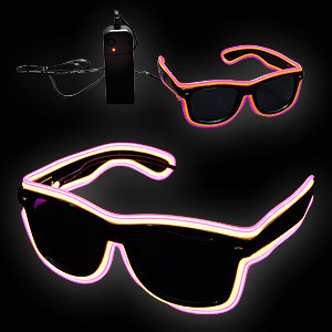 0775-078 EL Neon Glasses Double Trouble gelb pink